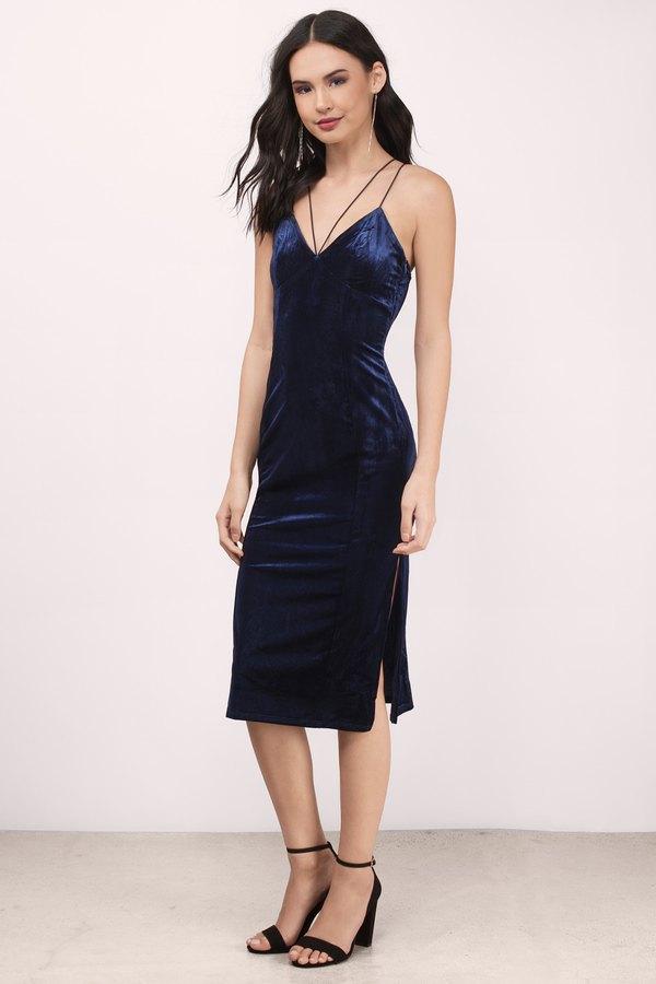 blue dress with black heels
