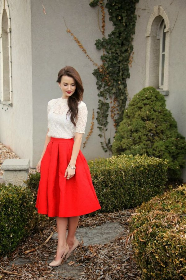 2bf7f384f7d3c 15 Best Outfit Ideas on How to Wear Red Flare Skirt - FMag.com