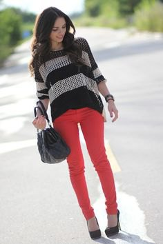 black and grey striped knit sweater