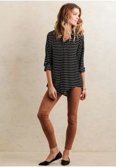 black and grey striped tee green suede leggings