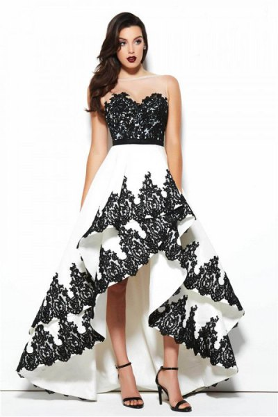 black and white strapless sequin ruffle dress
