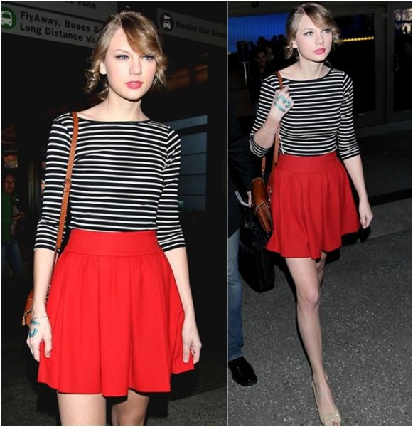 black and white striped half sleeve tee red flare skirt