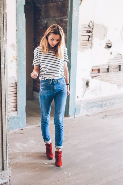 black and white striped t shirt outfit