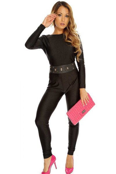 black belted jumpsuit pink heels