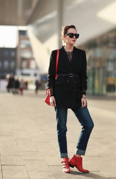black belted trench coat cuffed jeans