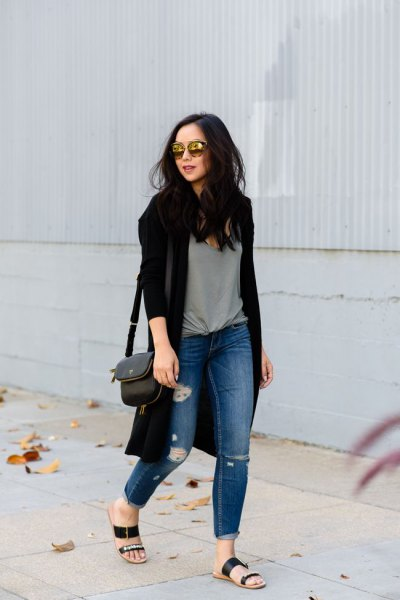 black cardigan grey knotted tee ripped jeans