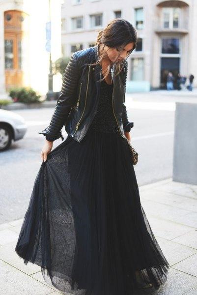 black chiffon maxi flare dress leather jacket