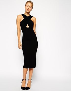 black criss cross neck cutout midi dress