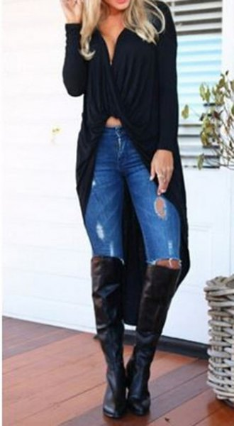black crop top knee high boots