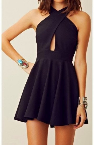 black cross neck mini dress tiny cutout at waist