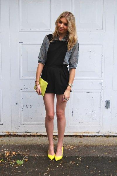 black dress grey shirt yellow heels