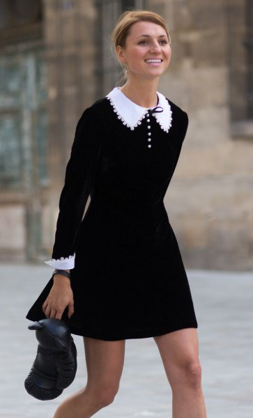 black dress white polka dot details