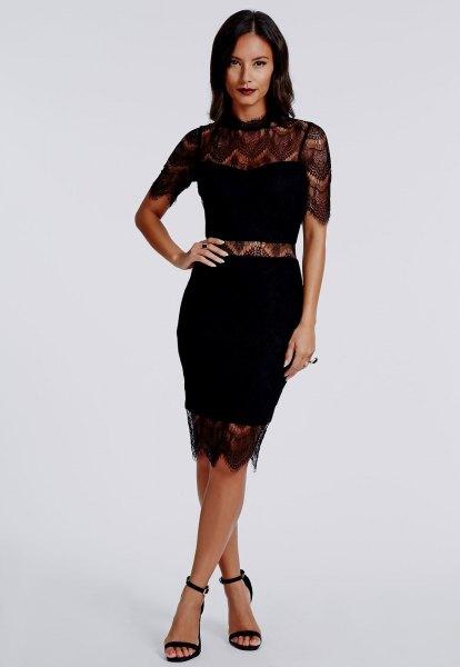 black faux two piece dress lace details