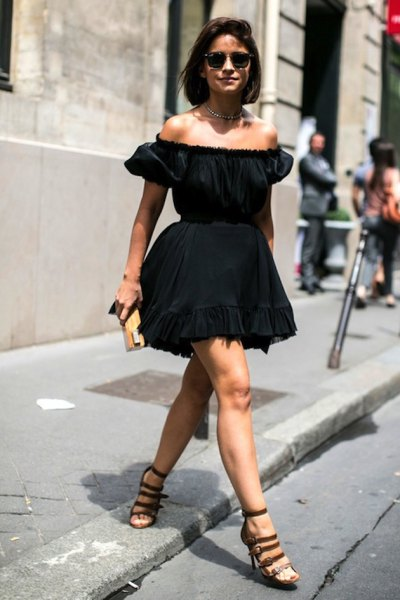 black fit and flare ruffle dress miroslava duma