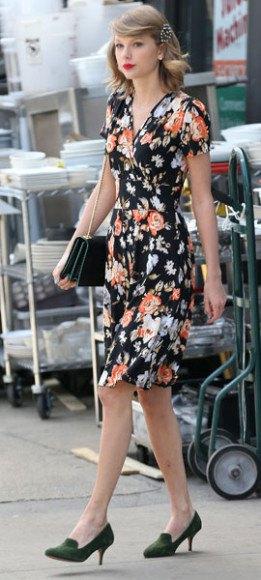 black floral wrap knee length dress purse