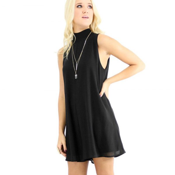 black high neck chiffon shift dress