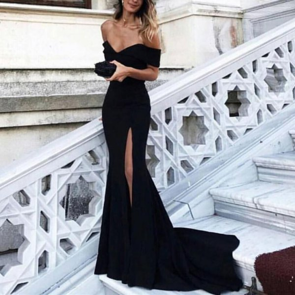 black high split flowy mermaid dress