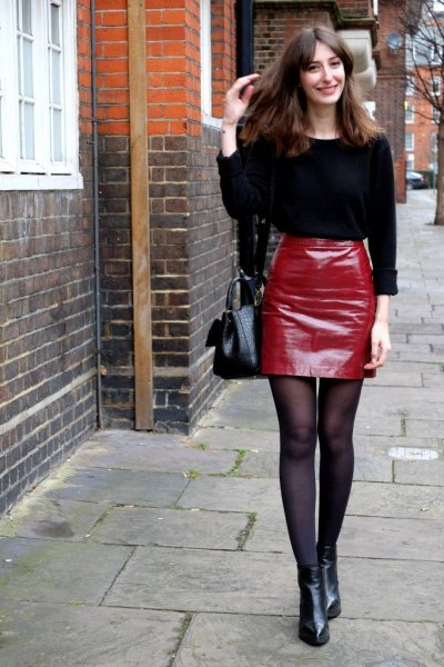 black knit sweater red leather mini skirt