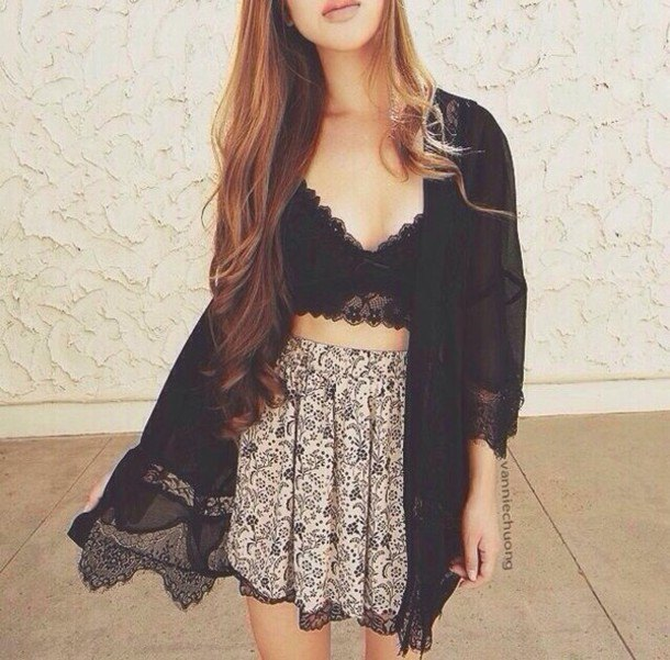 how to style black lace bralette top 15 outfit ideas