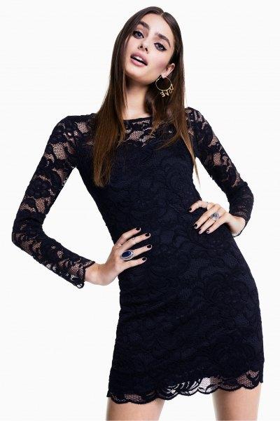 black lace semi sheer bodycon mini dress
