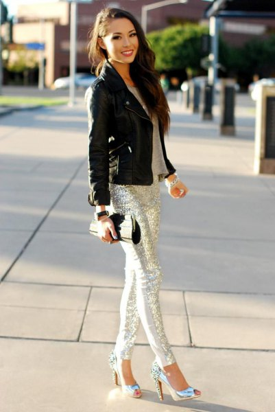 black leather moto jacket silver sequin pants