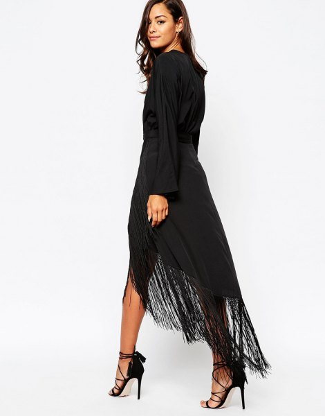 black long sleeve high low fringe maxi dress