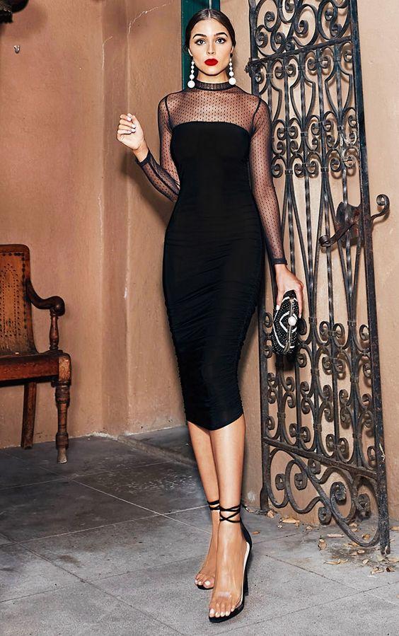 black mesh dress classy