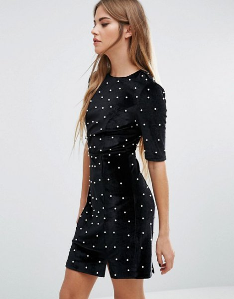 black pearl embellished bodycon dress
