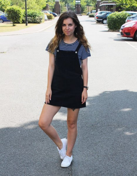 black pinafore dress black and white striped t shirt