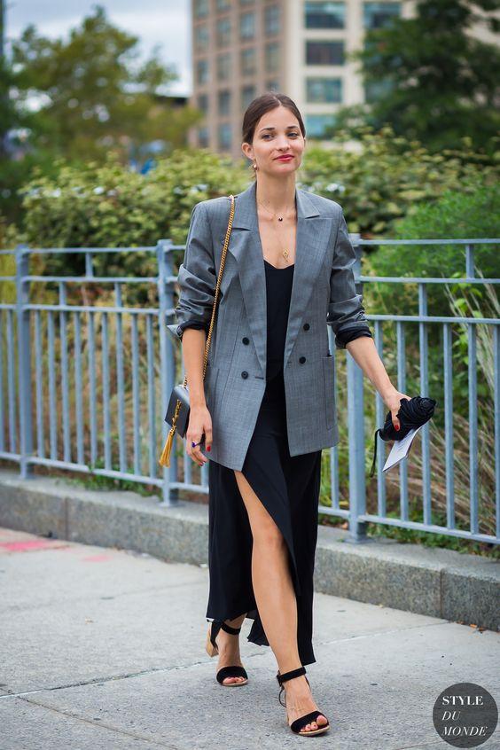 black satin dress plaid blazer