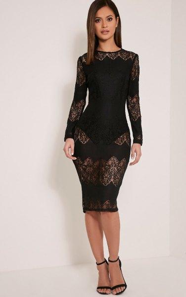 black semi sheer lace bodycon dress