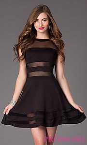 black semi sheer skater dress horizontal cutouts