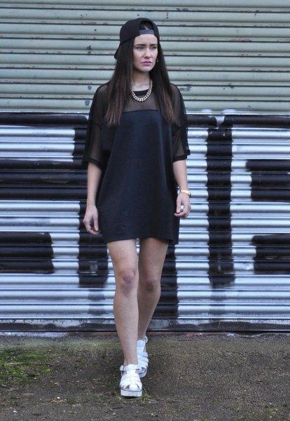 black sheer shoulder half sleeve shift dress