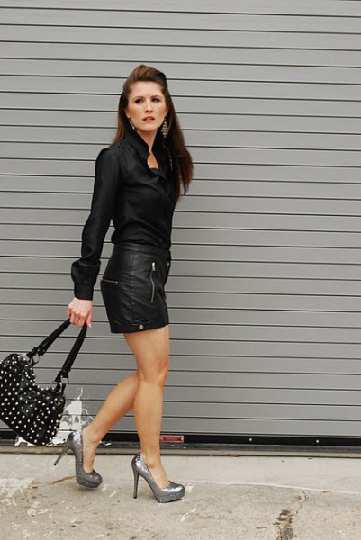 black shirt leather mini skirt
