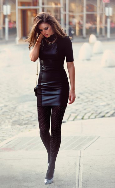 black short sleeve leather mini dress silver sparkly heels