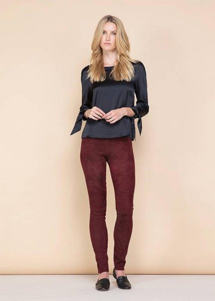 black silk top burgundy suede leggings