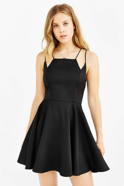black skater dress extra straps on shoulders