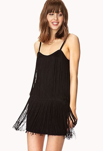 black spaghetti strap shift fringe dress