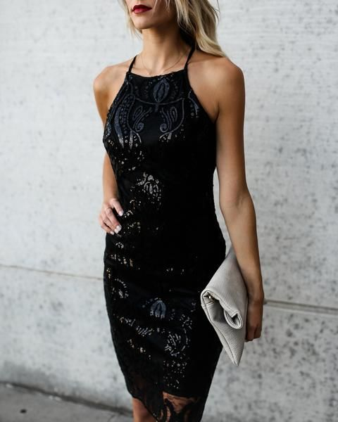 black sparkly dress halter neckline