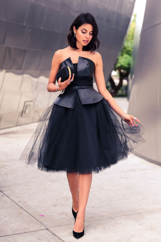 black strapless dress elegant leather bodice