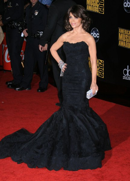 black strapless long flowy dress