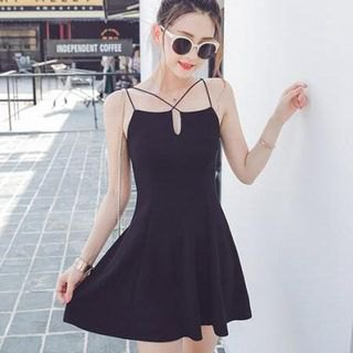 black v neck strappy skater dress