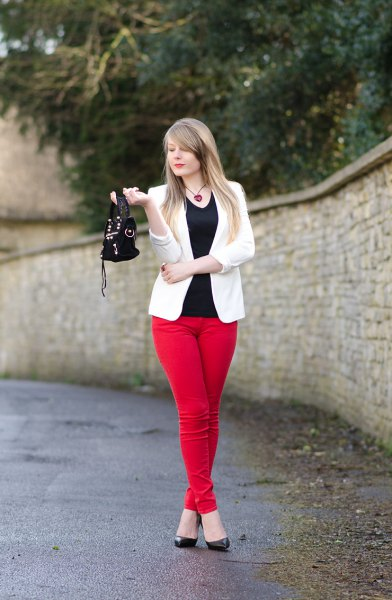 black vest top white blazer