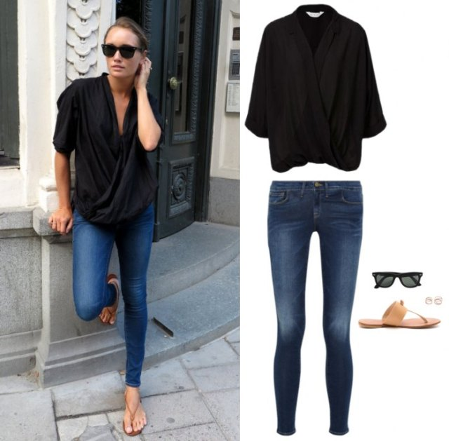 black wrap top skinny jeans flip flops