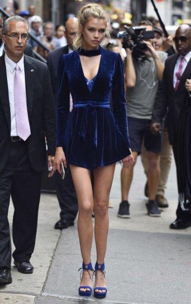 blue choker neck deep v neck mini dress
