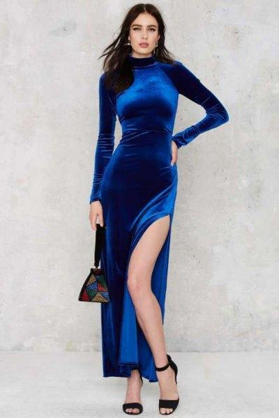 blue high split bodycon maxi dress
