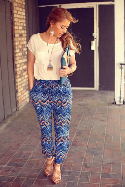 blue printed pants boho long necklace