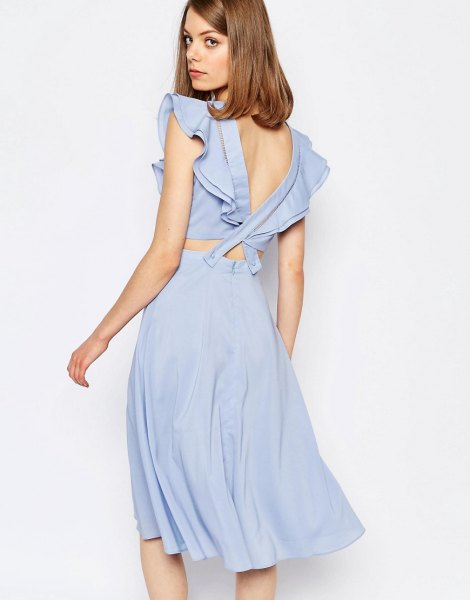 blue ruffle sleeve low back two piece dress