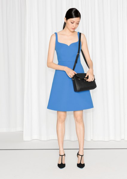 blue sweetheart skater dress