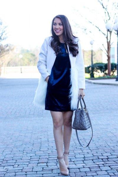 blue velvet shirt dress white faux fur coat